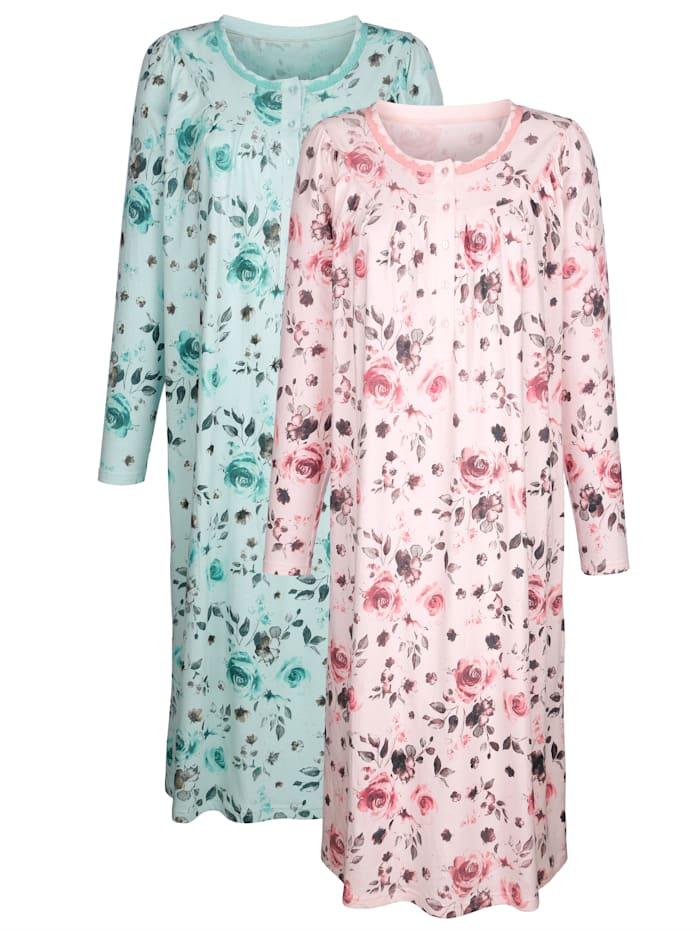Nachthemd mit dekorativen Raffungen 2er Pack