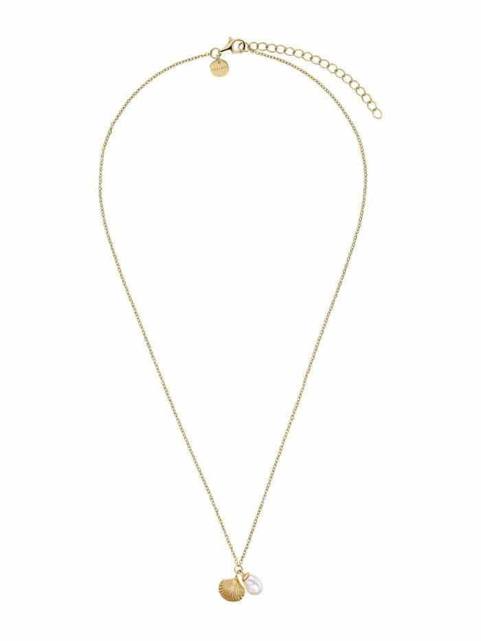 Noelani Kette mit Anhänger für Damen, Sterling Silber 925 vergoldet, Muscheln mit Perle, Gold