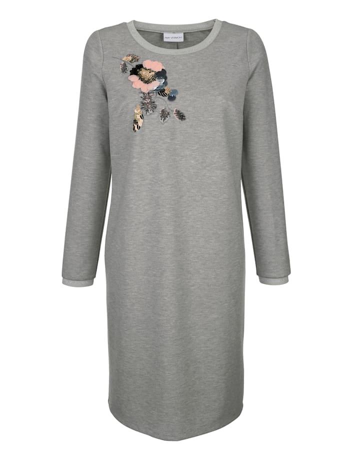 AMY VERMONT Jerseykleid mit Blumenstickerei und Pailletten, Grau