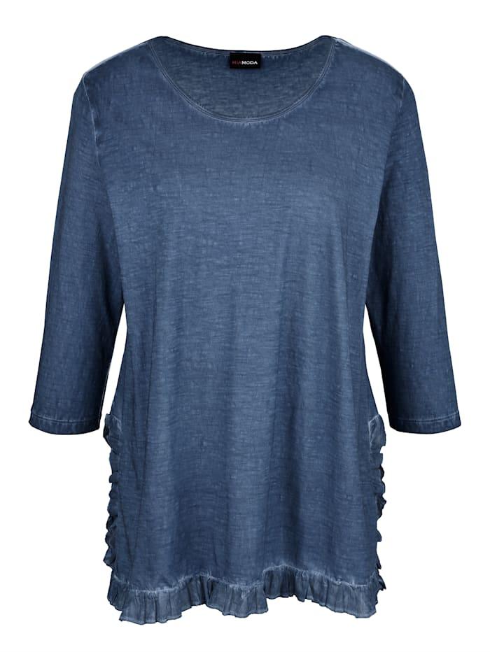 Shirt mit Rüschen am Saum