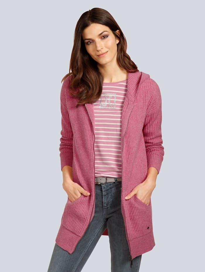 JETTE JOOP Strickjacke in langer Form, Rosé