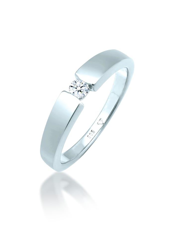 DIAMORE Ring Verlobungsring Diamant (0.11 Ct.) 585 Weißgold, Silber