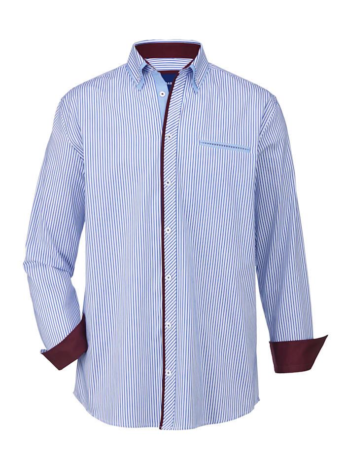 BABISTA Overhemd met ingewerkte paspelzak, Wit/Blauw