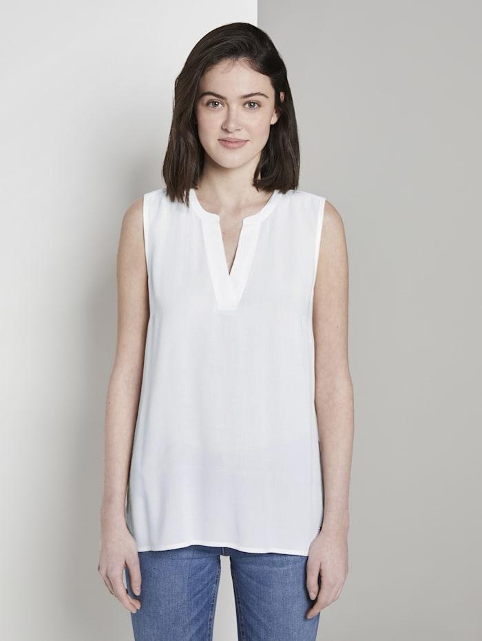Tom Tailor Denim Ärmellose Bluse mit Henley-Ausschnitt, Off White