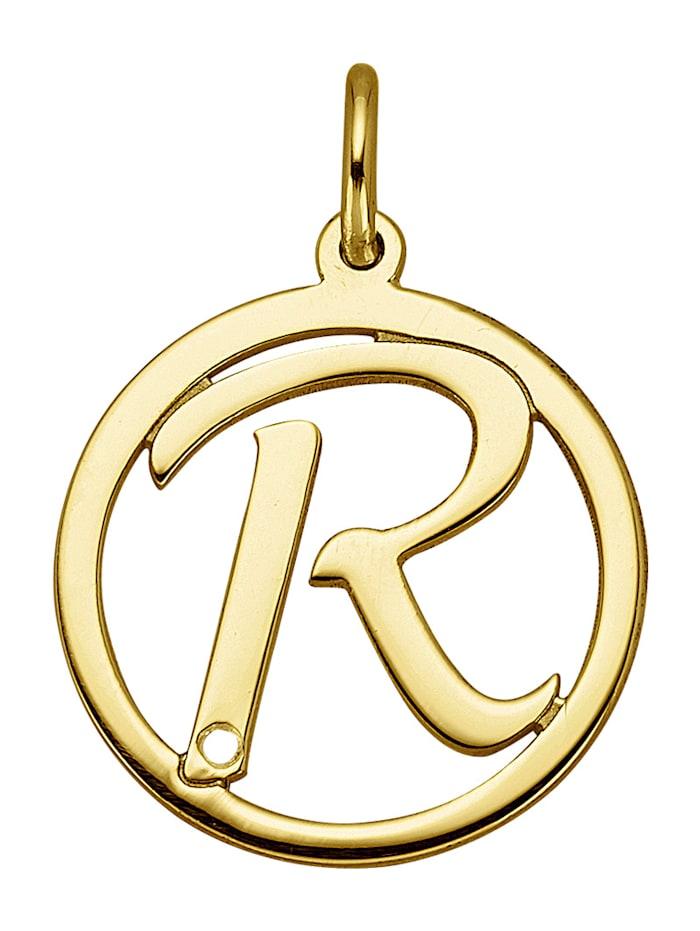 Buchstaben-Anhänger R, Gelbgoldfarben