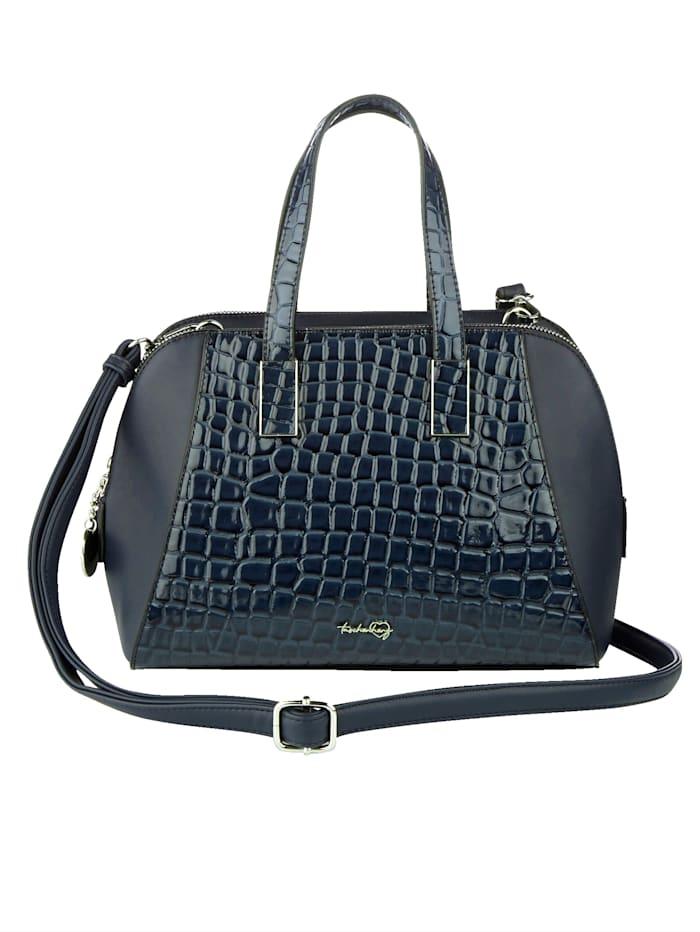 Taschenherz Handtasche mit Krokoprägung, Dunkelblau