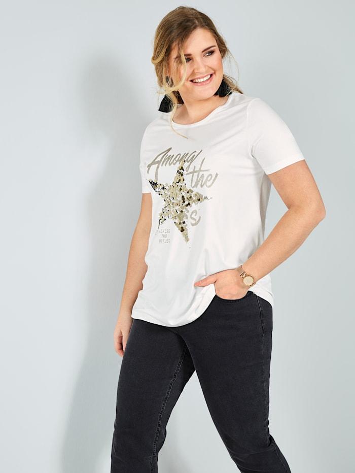 Sara Lindholm Shirt mit Pailletten, Off-white/Goldfarben