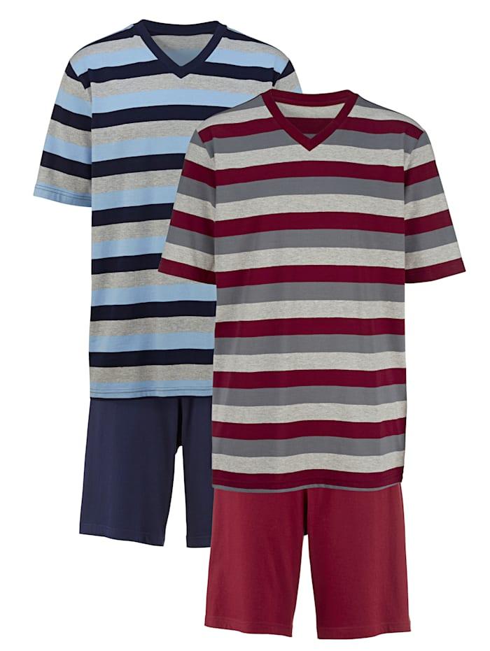G Gregory Pyjamas med korta ärmar och korta ben 2-pack, 1 röd/grå, 1 blå/grå