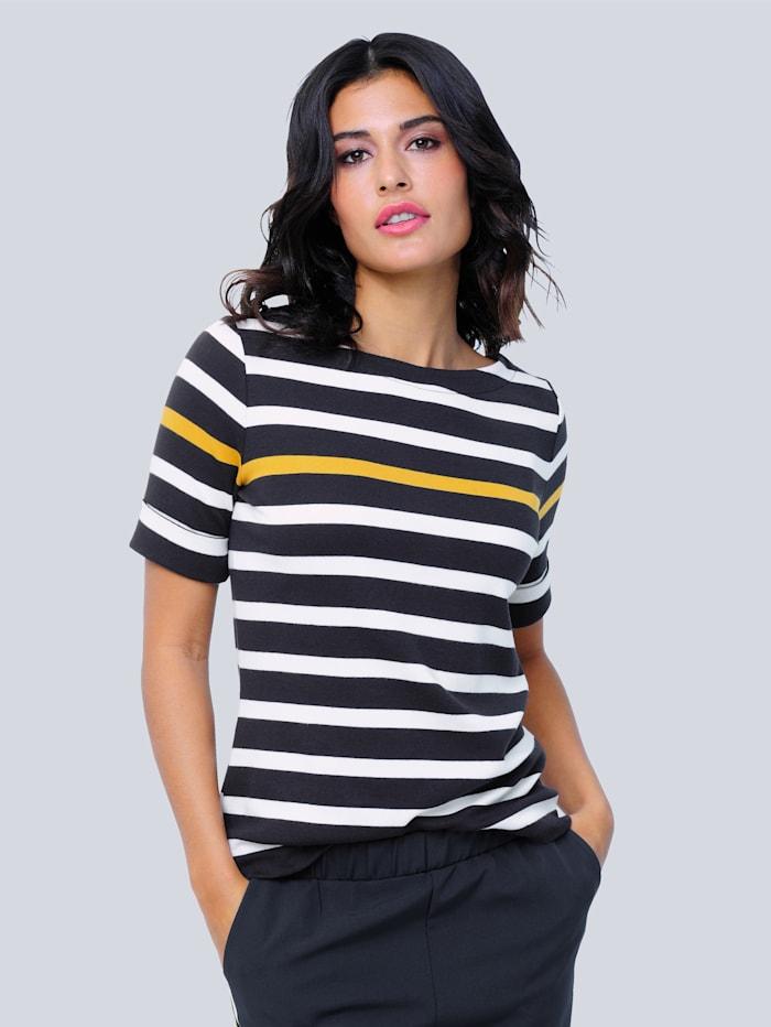 Alba Moda Shirt im Ringel-Dessin, Marineblau/Gelb/Weiß