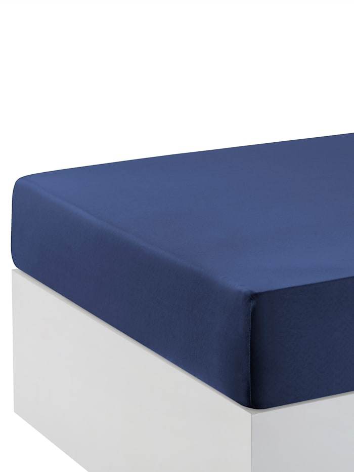 Biberna Jersey Elastic Spannbettlaken für Boxspringbetten, Blau