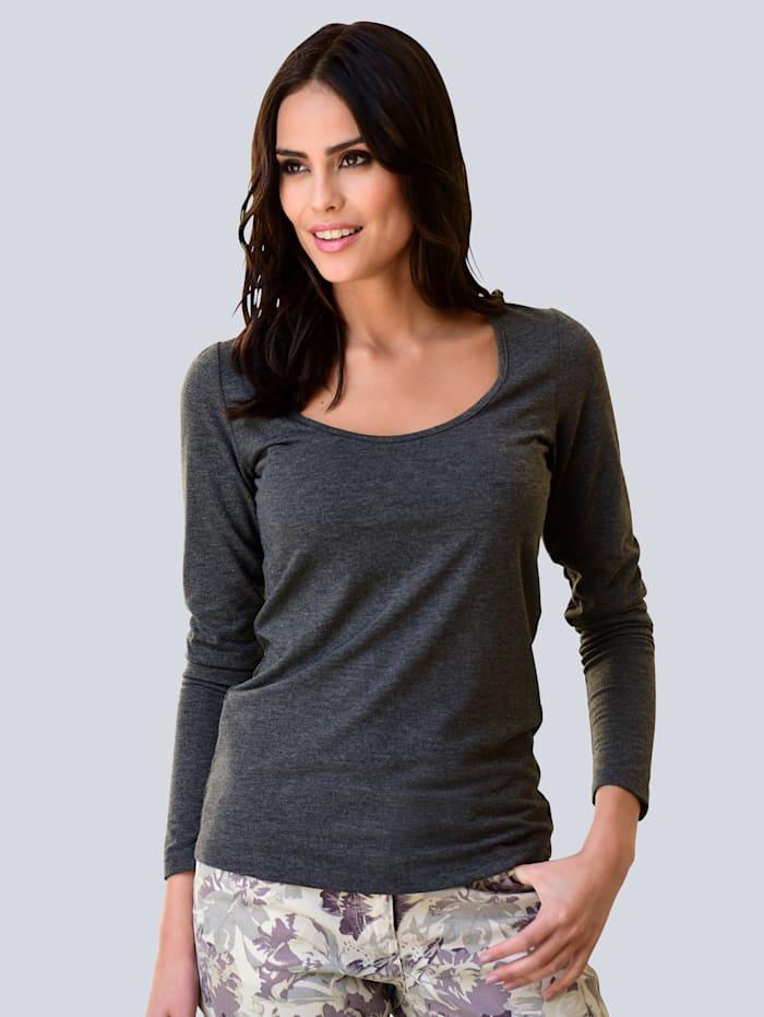Alba Moda Shirt Diepe ronde hals, Antraciet