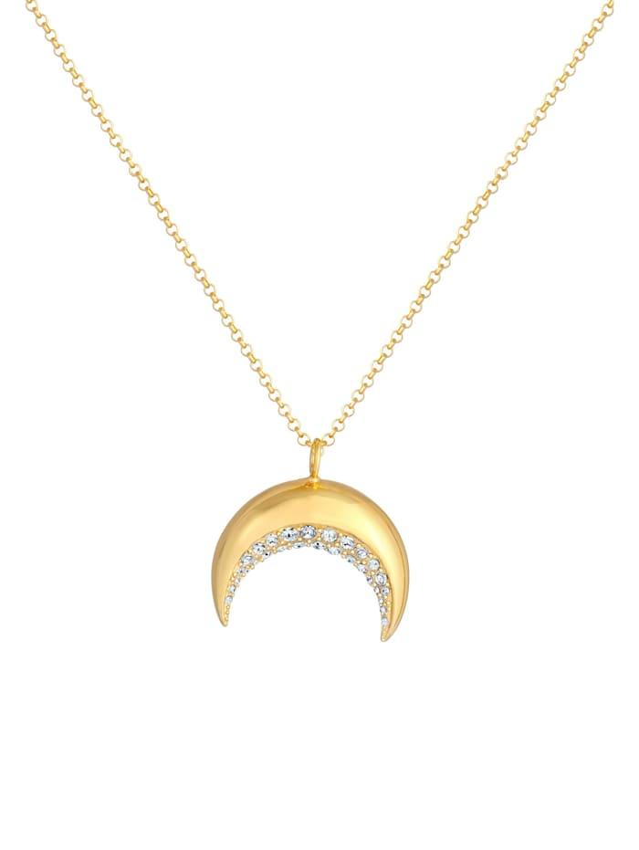 Halskette Sichel Halbmond  Kristalle 925 Silber