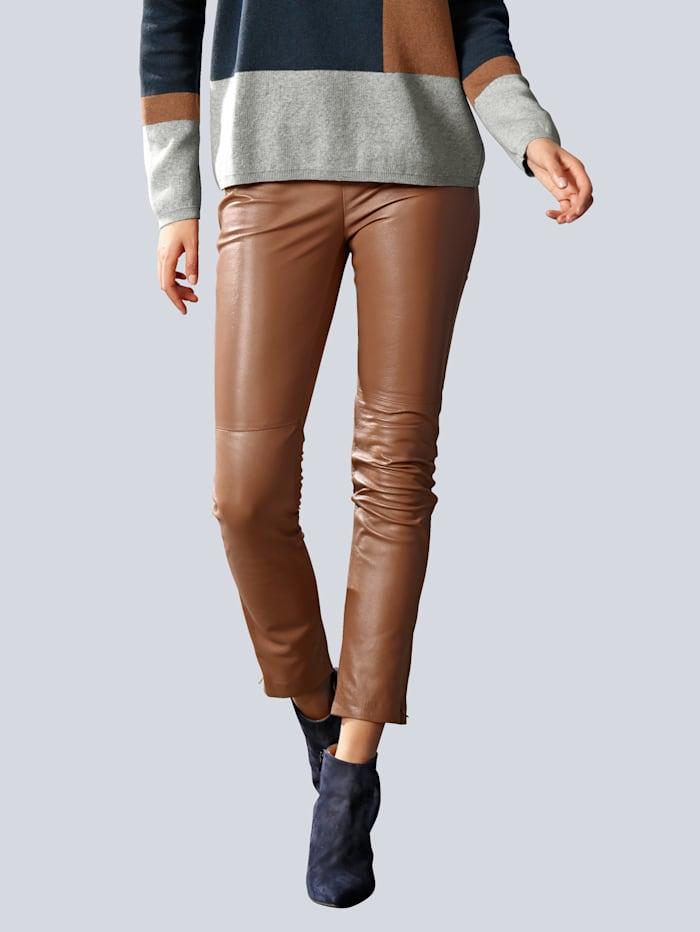 Alba Moda Lederhose aus hochwertigem Lammnappaleder, Cognac