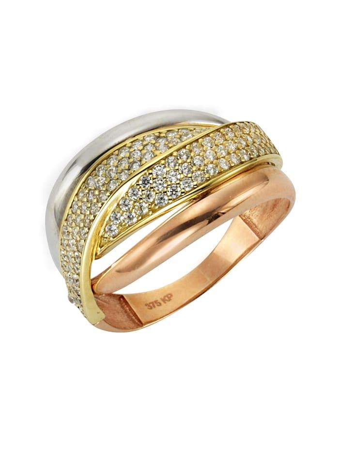 Ring 375/- Gold Zirkonia weiß Glänzend 375/- Gold