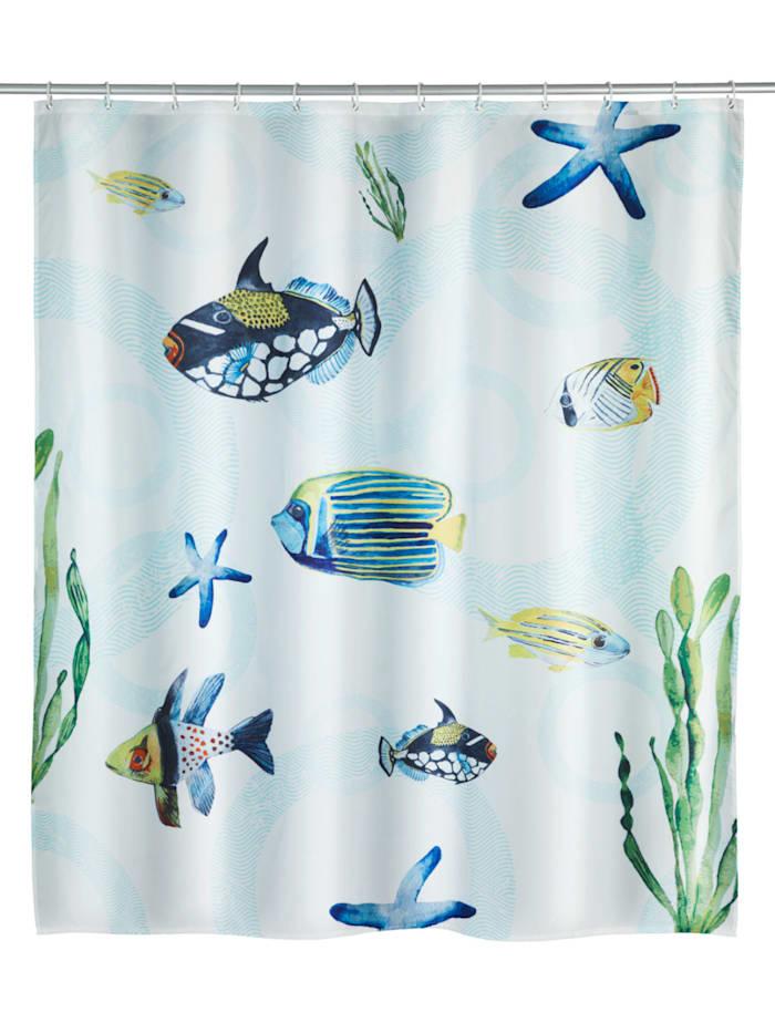 Wenko Duschvorhang Aquaria, Textil (Polyester), 180 x 200 cm, waschbar, Mehrfarbig
