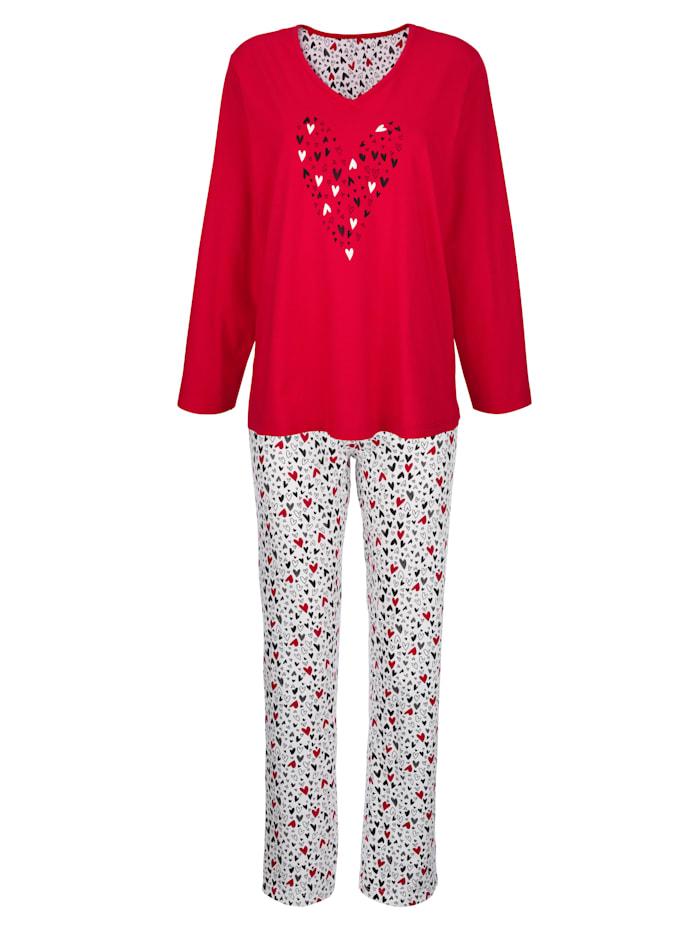 "Comtessa Pyjama en coton issu de l'initiative ""Cotton made in Africa"", Rouge/Blanc/Noir"
