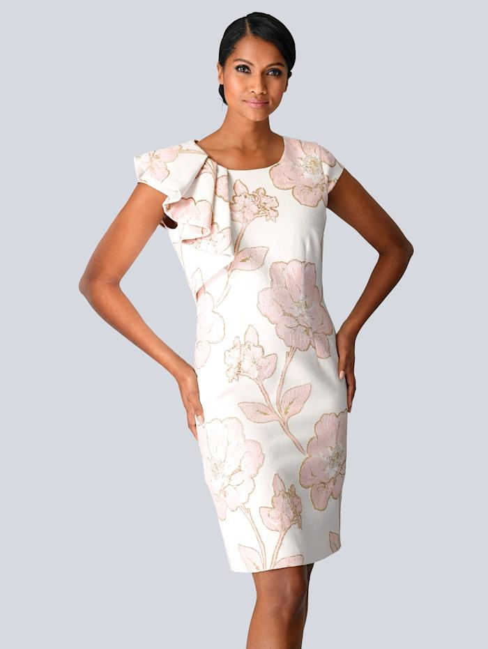 Alba Moda Kleid in edlem Jacquard, Creme-Weiß/Rosé