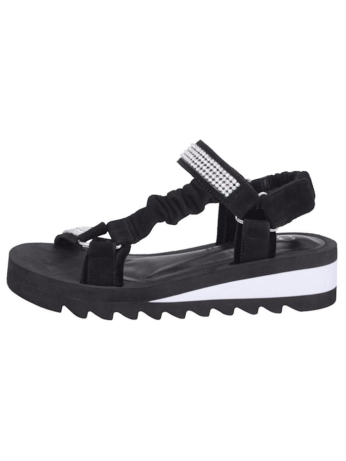 Sandale in Bandagen-Optik mit Strasssteinchen