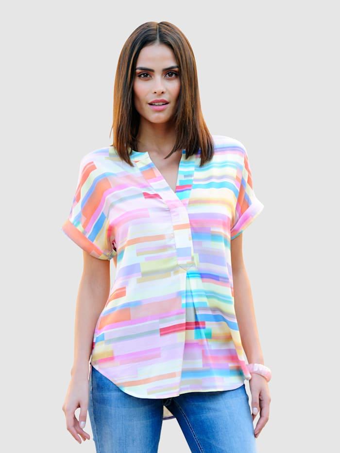 Alba Moda Blouse met bijzonder streeppatroon, Roze/Geel/Blauw