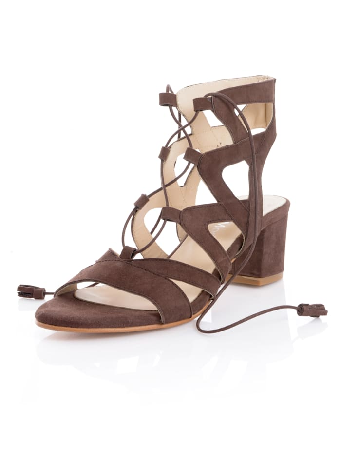 Alba Moda Sandaaltje met siervetersluiting, Bruin