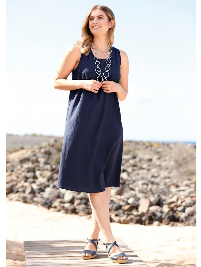 Sara Lindholm Kleid mit Leinenanteil, Blau
