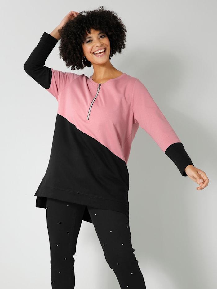 Angel of Style Sweatshirt im Colorblock-Style, Rosenholz/Schwarz