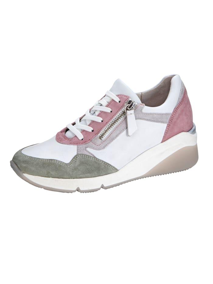 Gabor Sneaker met vetersluiting en met rits opzij, Wit/Roze/Olijf