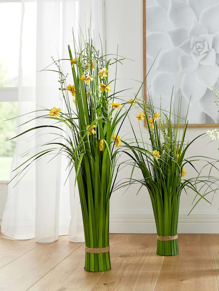Globen Lighting Konstväxt, gräs med blommor, Gul