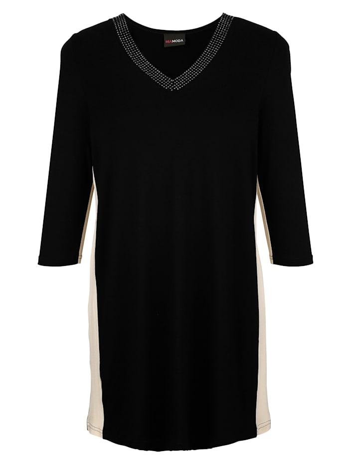 MIAMODA Dlhé tričko s predlžujúcim V-výstrihom, Čierna/Béžová