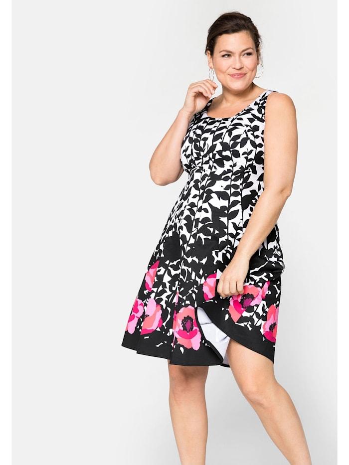Sheego Sheego Bahnenkleid mit floralem  Alloverdruck, schwarz-weiß