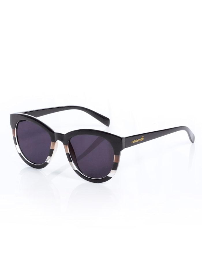 Alba Moda Solglasögon med randigt mönster, Svart/Brun