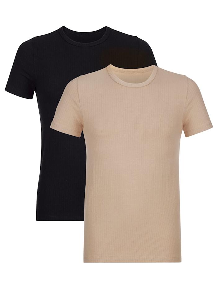 BABISTA Lot de 2 T-shirts à fines rayures, Noir/Nude