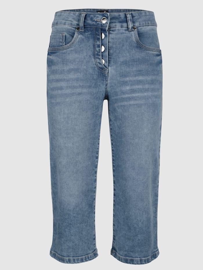 Långa jeansshorts i rak modell