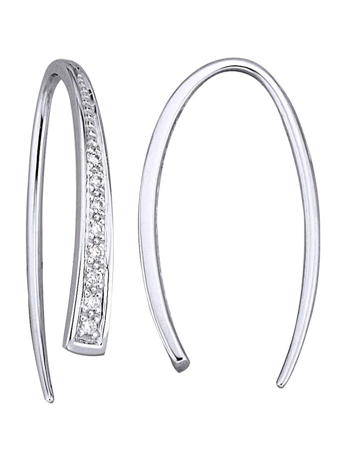 Diemer Highlights Ohrringe mit Diamanten, Weißgoldfarben