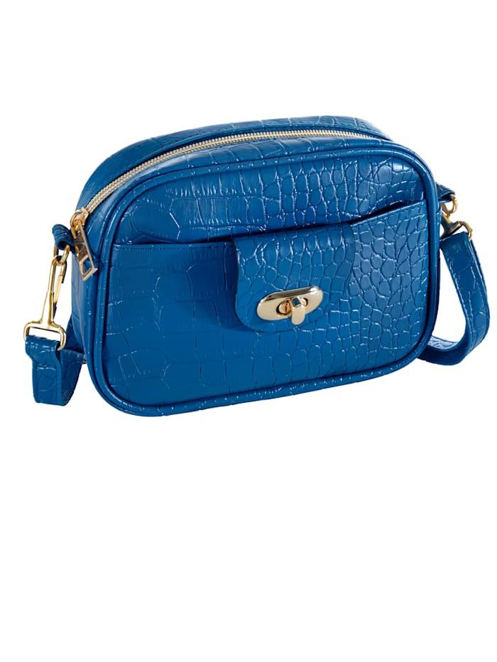 Bauchtasche Kroko, Bleu