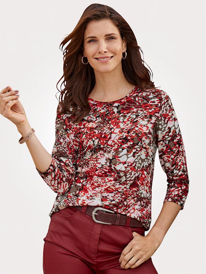 Barbara Lebek T-shirt à imprimé minimaliste, Rouge clair/Beige