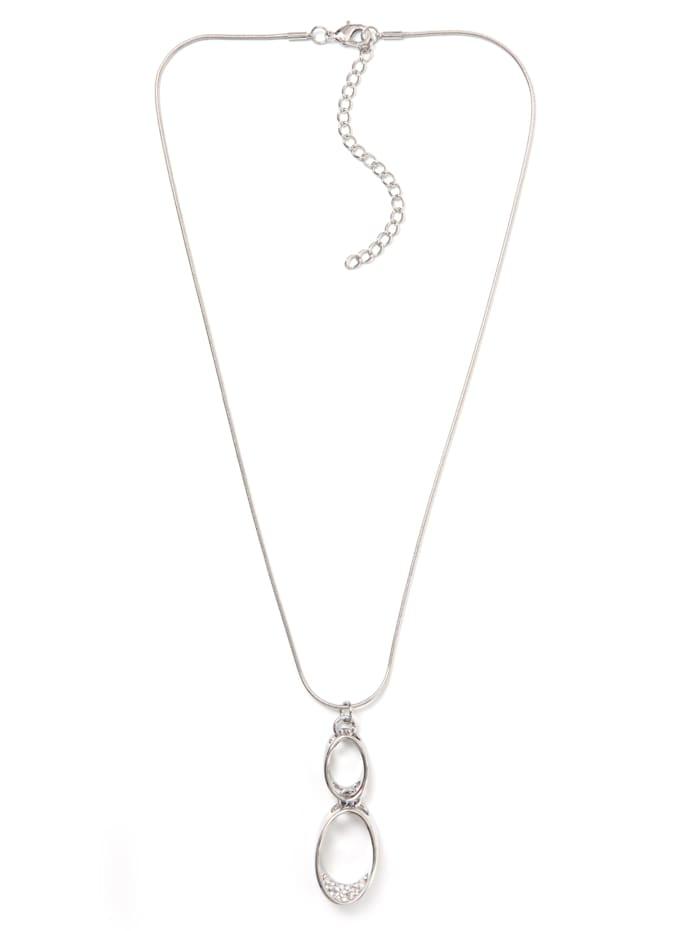 Collezione Alessandro Kurze Kette Philia mit vielen kleinen Glassteinen, silberfarbig