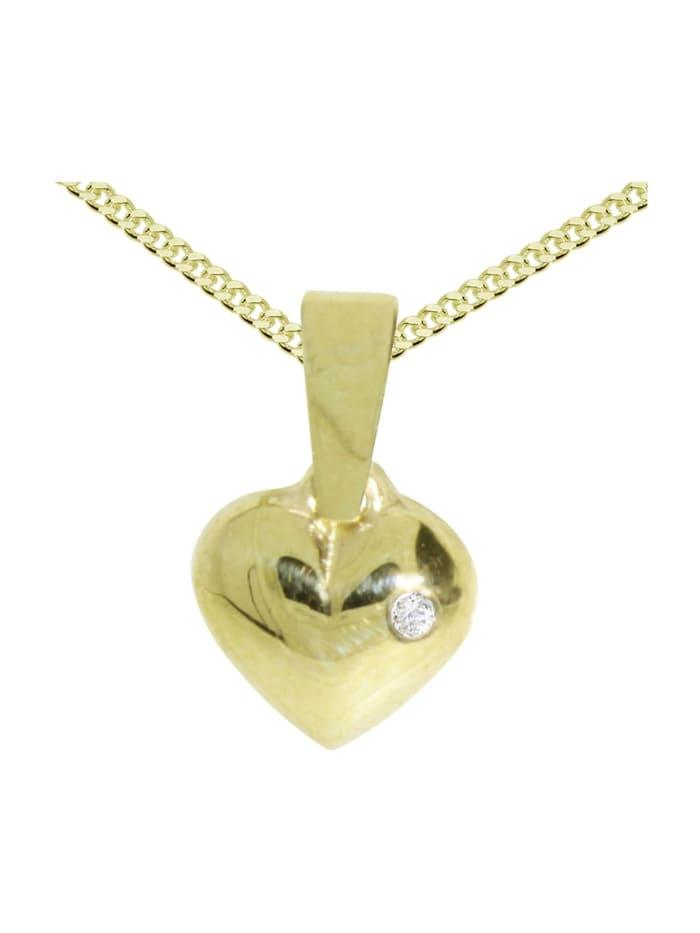 OSTSEE-SCHMUCK Kette mit Anhänger - Herz - Gold 333/000 - ,, gold