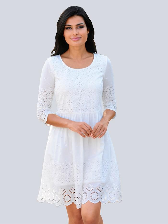 Alba Moda Strandkleid mit Bogenspitze, Weiß