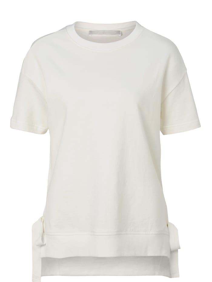 Mellow Peach Sweatshirt Seitenschlitze mit Bändern, Off-white
