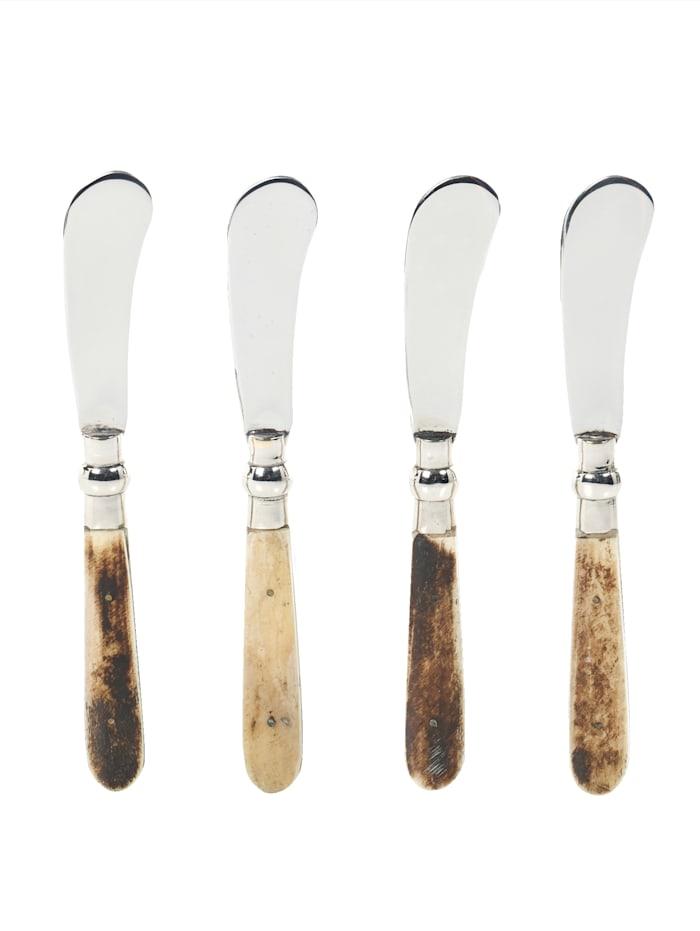 IMPRESSIONEN living Set de 4 couteaux à beurre, Coloris argenté/beige/marron