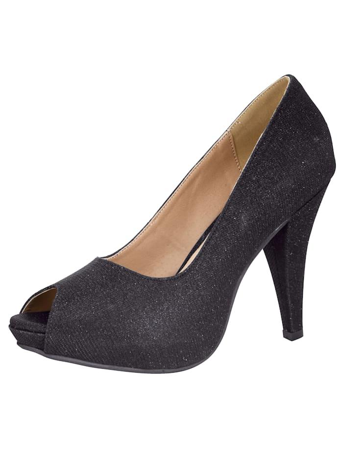 Platform peep toe shoes In stylish shimmery finish, Black