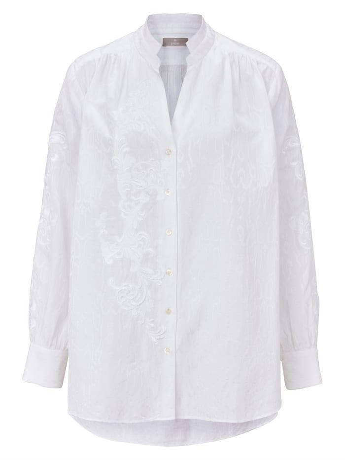 GUSTAV Bluse mit Stickerei, Off-white