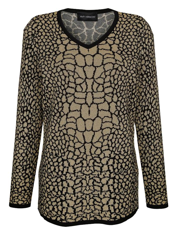 Pullover mit allover Animal-Print