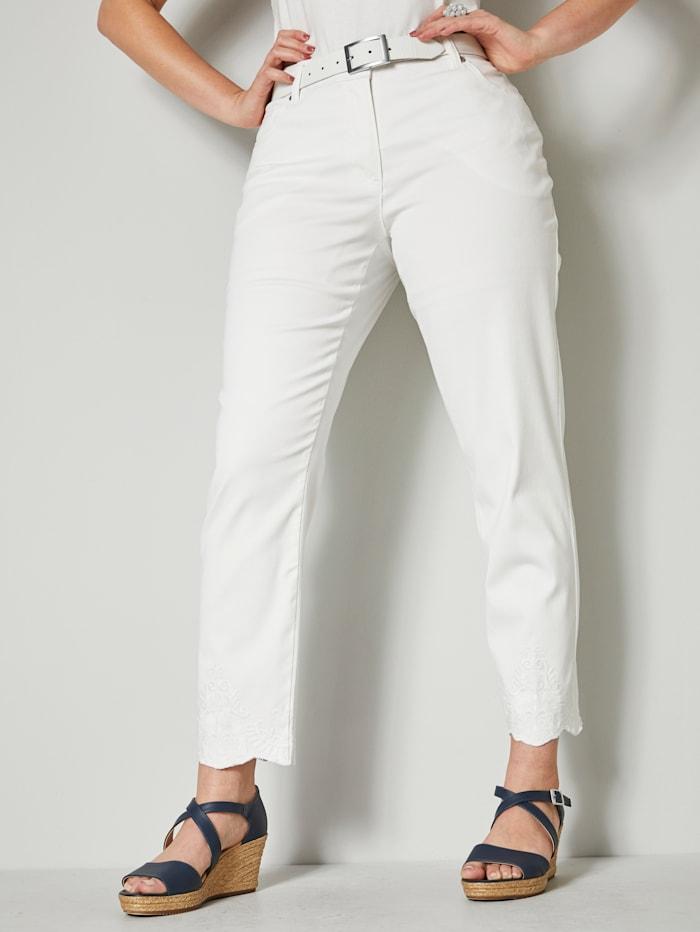 Sara Lindholm Jeans met borduursel op de zoom, Wit