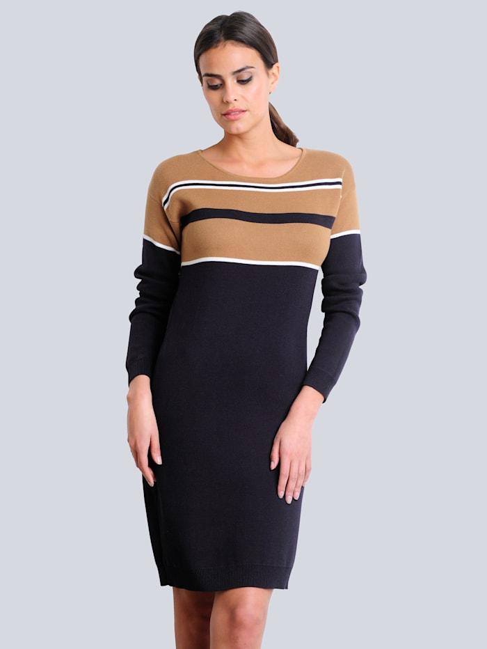 Alba Moda Strickkleid mit modisch kontrastfarbigem Streifen-Dessin, Marineblau/Off-white/Beige