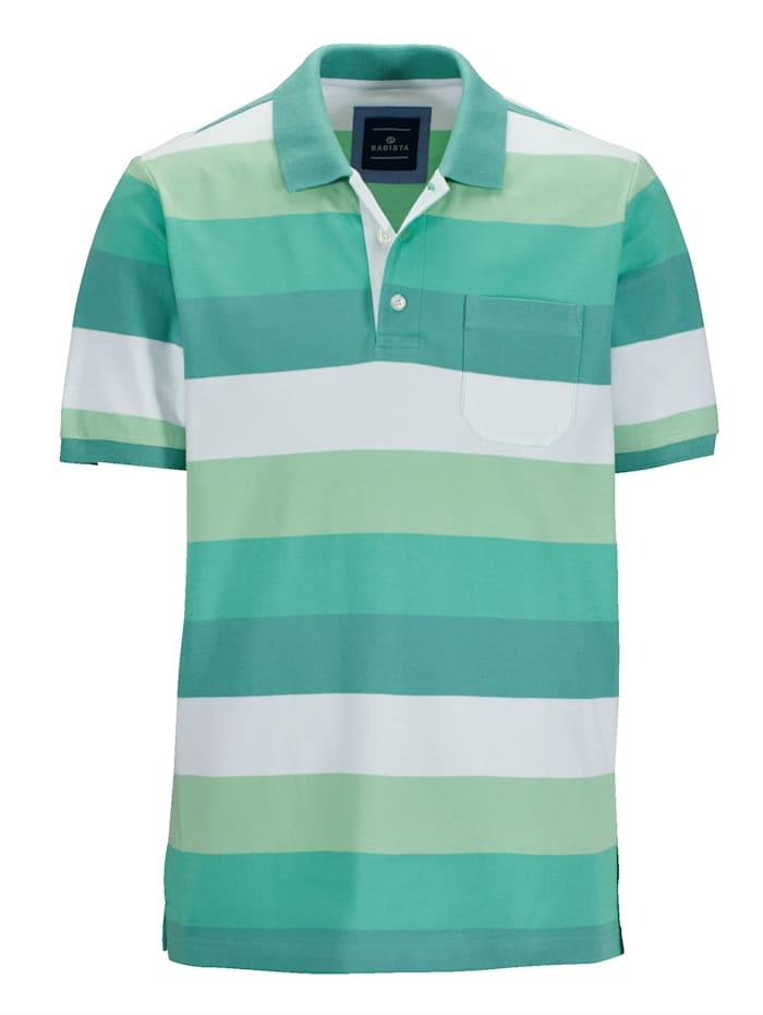 BABISTA Polo avec 1 poche poitrine, Vert/Blanc