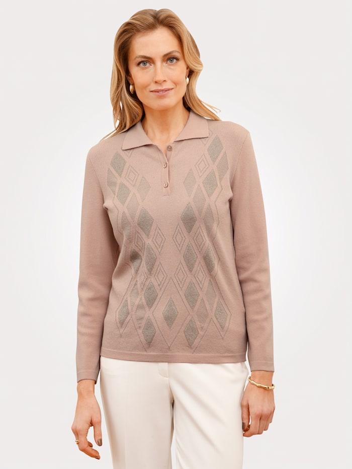 MONA Pullover mit Polokragen, Rosé/Beige