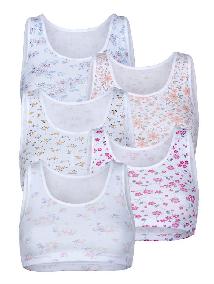 Harmony Bustiers im 5er-Pack mit verschiedenen Drucken, Weiß/Rosé/Grün