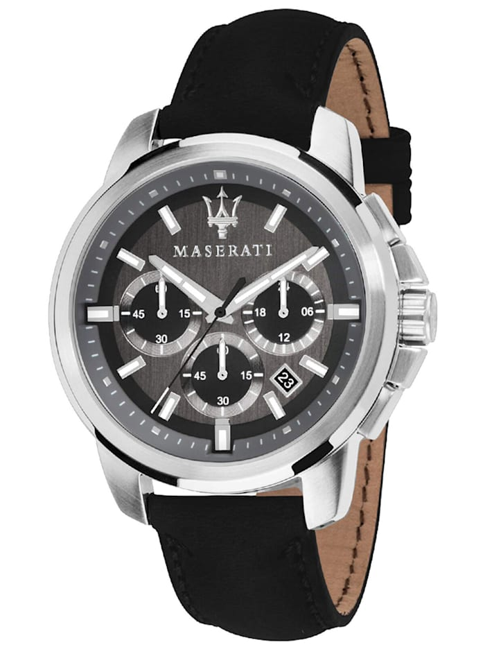Maserati Herrenuhr Chronograph Successo mit Lederband, Anthrazit